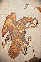 6th century Byzantine Roman mosaics of an Eagle catching a snake from the peristyle of the Great Palace from the reign of Emperor Justinian I. Istanbul, Turkey.