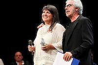 Cerimonia di consegna del premio Le Maschere del Teatro Italiano al Teatro San Carlo di Napoli , 5 Settembre 2014<br /> leonarda Saffi ritira per il miglior spettacolo
