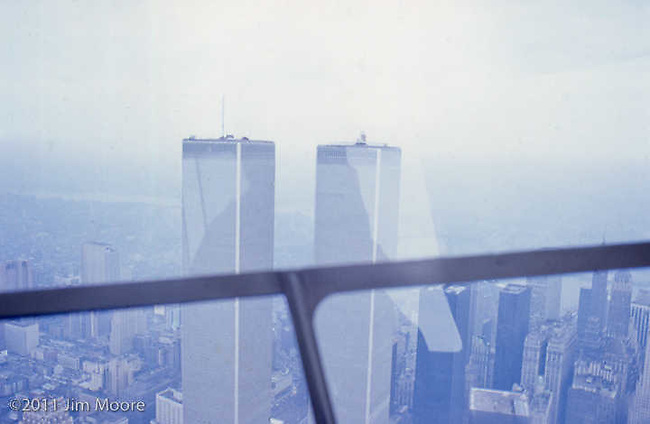 Window view from helicopter of WTC.