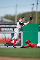 Auburn Doubledays second baseman Carson Shaddy (5) waits to receive a throw from the catcher during a game against the Batavia Muckdogs on September 2, 2018 at Dwyer Stadium in Batavia, New York.  Batavia defeated Auburn 5-4.  (Mike Janes/Four Seam Images)