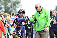 Picture by Allan McKenzie/SWpix.com - 05/09/2017 - Cycling - OVO Energy Tour of Britain -  Stage 3 Normanby Hall Country Park to Scunthorpe - Race director Mick Bennett congratulates Orica Scott's Caleb Ewan after his victory on Stage 3 of the Tour of Britain.