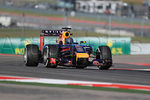 31.10.2014. Austin, Texas, USA. F1 Grand Prix of America, practise and inpsection day.  Infiniti Red Bull Racing driver Sebastian Vettel takes to the circuit during friday practice session