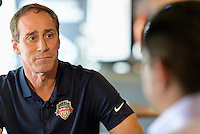 Houston, TX - Thursday Oct. 06, 2016: Jim Gabarra during media day prior to the National Women's Soccer League (NWSL) Championship match between the Washington Spirit and the Western New York Flash at BBVA Compass Stadium.