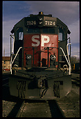 Head-on view of SP GP40-2M #7124.  &quot; S.P. Alamosa&quot;.<br /> Southern Pacific  Alamosa, CO  Taken by Berkstresser, George - 12/1995