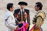 THe three bullfighters Miguel ?Ångel Delgado, Fernando Cruz and Leandro at the Bullfight Virgen de la Paloma festivity