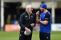 Todd Blackadder and Dave Attwood of Bath Rugby have a laugh prior to the match. Gallagher Premiership match, between Bath Rugby and Wasps on May 5, 2019 at the Recreation Ground in Bath, England. Photo by: Patrick Khachfe / Onside Images