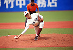 Kazuya Yoshino, JUNE 14, 2015 - Baseball : Kazuya Yoshino of Waseda University throws the ball during the Japan National Colleglate Baseball Championship final match between Waseda University 8-5 Ryutsu Keizai University at Jingu Stadium in Tokyo, Japan. (Photo by Hitoshi Mochizuki/AFLO)