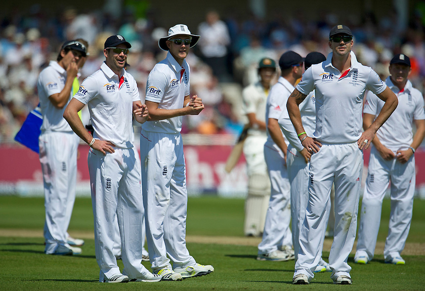 L to R England's James Anderson, Stuart Broad and Kevin Pietersen look bemused as Matt Prior (wicketkeeper) has his appeal for stumping Australia's Ashton Agar reversed by the TV umpire<br /> <br />  (Photo by Stephen White/CameraSport) <br /> <br /> International Cricket - First Investec Ashes Test Match - England v Australia - Day 2 - Thursday 11th July 2013 - Trent Bridge - Nottingham<br /> <br /> &copy; CameraSport - 43 Linden Ave. Countesthorpe. Leicester. England. LE8 5PG - Tel: +44 (0) 116 277 4147 - admin@camerasport.com - www.camerasport.com