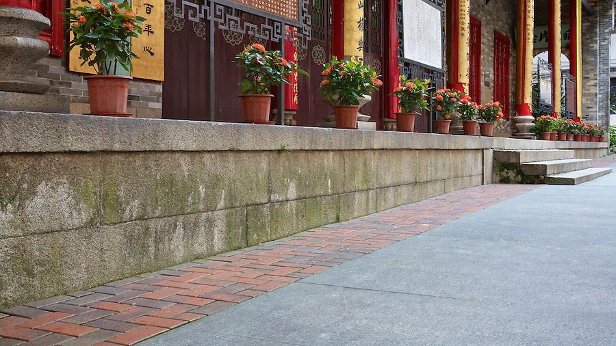 Granite base and entrance steps.