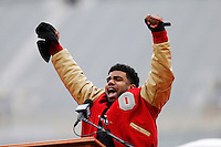 Running back Ezekiel Elliott reacts on stage during the Ohio State Football National Championship Celebration at Ohio Stadium, Saturday morning, January 24, 2015. More than 40 thousand fans packed the lower stands in the stadium to celebrate the National Championship win with the football team. (The Columbus Dispatch / Eamon Queeney)