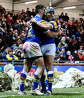 Leeds Rhinos' Tom Briscoe celebrates scoring his side's second try with Ashton Golding<br /> <br /> Photographer Alex Dodd/CameraSport<br /> <br /> Betfred Super League Round 5 - Leeds Rhinos v Hull FC - Thursday 8th March 2018 - Headingley Carnegie Stadium - Leeds<br /> <br /> World Copyright &copy; 2018 CameraSport. All rights reserved. 43 Linden Ave. Countesthorpe. Leicester. England. LE8 5PG - Tel: +44 (0) 116 277 4147 - admin@camerasport.com - www.camerasport.com