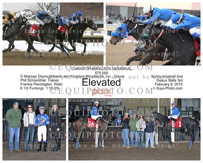 Elevated #1 (R) with Frankie Pennington riding won the $75,000 Christopher Elser Memorial Stakes at Parx Racing in Bensalem, Pennsylvania February 8, 2014.  Second was Stablemate #1a (L) Sonny Inspired Stevica Djuric.  Photo By Barbara Weidl / EQUI-PHOTO