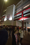 Home supporters making their way towards the Britannia Stadium, Stoke-on-Trent, before the UEFA Europa League last 32 first leg between Stoke City and visitors Valencia. The match ended in a 1-0 victory from the visitors from Spain. Mehmet Topal scored the only goal in the first half in a match watched by a crowd of 24,185.