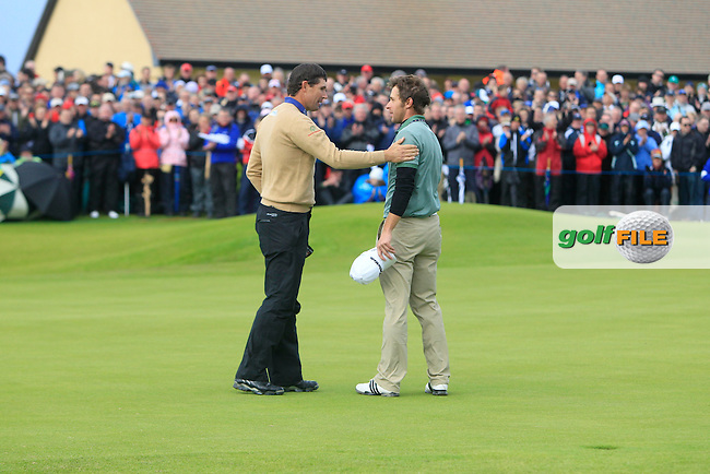 Padraig Harrington (IRL) and Lorenzo Gagli (ITA) on the 18th during round 3 of the Irish Open at Royal Portrush GC,Portrush,County Antrim,Ireland. 30/6/12.Picture Fran Caffrey www.golffile.ie