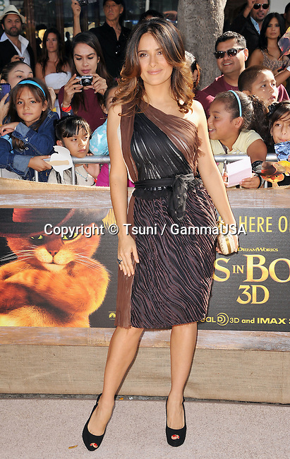 Salma Hayek at  the Puss In Boots Premiere at the Westwood Village Theatre In Los Angeles.