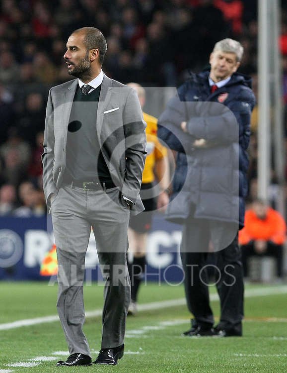 FC Barcelona's coach Pep Guardiola (l) and Arsenal's coach Arsene Wenger (r) during UEFA Champions League match. April 6, 2010. (ALTERPHOTOS/Acero)