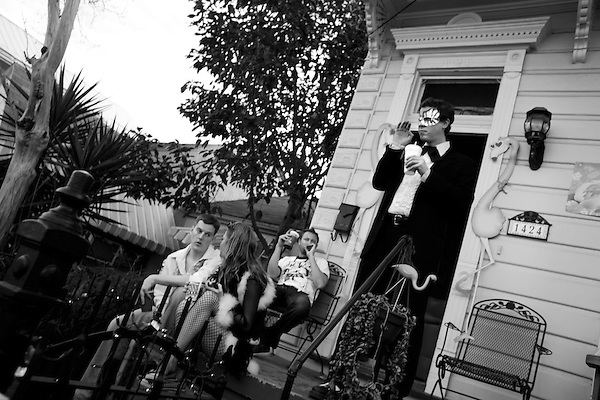 February 03, 2008. New Orleans, LA.. A party near a parade route in New Orleans.