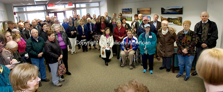 MIDDLEBURY CT. 04 November 2013-110413SV12-Residents, officials and guests gather for the grand reopening of the public library in Middlebury Monday. The library was reopened after a long renovation. <br /> Steven Valenti Republican-American