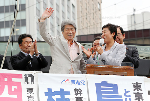 July 22, 2016, Tokyo, Japan - Shuntaro Torigoe (C), a candidate for the Tokyo gubernatorial election reacts to the audience as he delivers a campaign speech in Tokyo on Friday, July 22, 2016. Tokyo gubernatorial election will be held on July 31.     (Photo by Yoshio Tsunoda/AFLO) LWX -ytd-