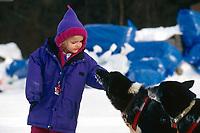 Little Girl w/ M Williams' Dogs in Anvik 99 Iditarod AK<br /> Alea Robinson of Bethal