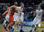 February 4, 2015 - Colorado Springs, Colorado, U.S. -    Air Force center, Zach Moer #41, blocks the lane during a Mountain West Conference match-up between the New Mexico Lobos and the Air Force Academy Falcons at Clune Arena, U.S. Air Force Academy, Colorado Springs, Colorado.  Air Force upsets New Mexico 53-49.