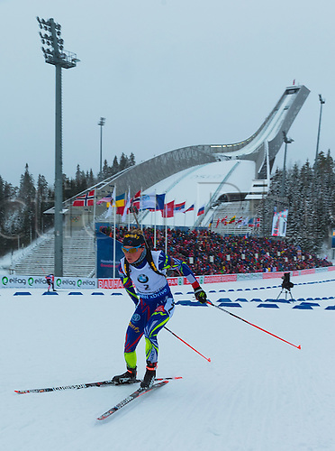 06.03.2016. Oslo Holmenkollen, Oslo, Norway. IBU Biathlon World Championships. Marie Dorin Habert of France competes in the ladies 10km pursuit competition during the IBU World Championships Biathlon in Holmenkollen Oslo, Norway.