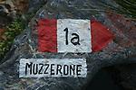 Balisage de sentier. Parc national des Cinque Terre. Ligurie. Italie.