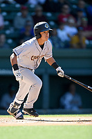 Second baseman David Metzgar (1) of the Charleston RiverDogs bats in a game against the Greenville Drive on Sunday, April 29, 2018, at Fluor Field at the West End in Greenville, South Carolina. Greenville won, 2-0. (Tom Priddy/Four Seam Images)