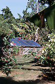 Negril, Jamaica. Solar water heating panels at a tourist hotel.