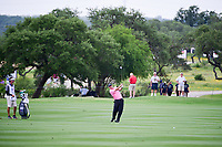 Johnson Wagner (USA) watches his approach shot on 18  during round 1 of the Valero Texas Open, AT&amp;T Oaks Course, TPC San Antonio, San Antonio, Texas, USA. 4/20/2017.<br /> Picture: Golffile | Ken Murray<br /> <br /> <br /> All photo usage must carry mandatory copyright credit (&copy; Golffile | Ken Murray)
