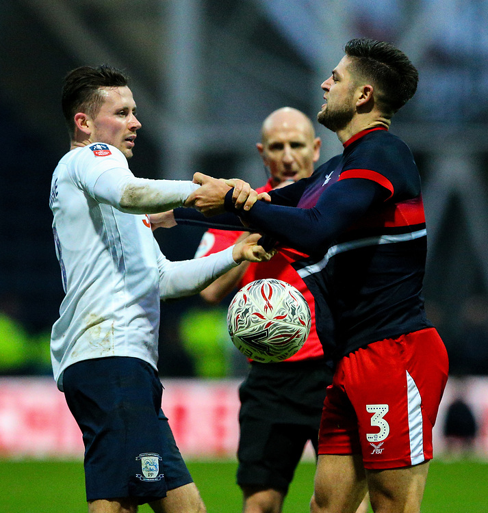 Preston North End's Alan Browne has words with Doncaster Rovers' Danny Andrew<br /> <br /> Photographer Alex Dodd/CameraSport<br /> <br /> The Emirates FA Cup Third Round - Preston North End v Doncaster Rovers - Sunday 6th January 2019 - Deepdale Stadium - Preston<br />  <br /> World Copyright © 2019 CameraSport. All rights reserved. 43 Linden Ave. Countesthorpe. Leicester. England. LE8 5PG - Tel: +44 (0) 116 277 4147 - admin@camerasport.com - www.camerasport.com