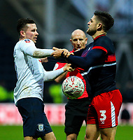 Preston North End's Alan Browne has words with Doncaster Rovers' Danny Andrew<br /> <br /> Photographer Alex Dodd/CameraSport<br /> <br /> The Emirates FA Cup Third Round - Preston North End v Doncaster Rovers - Sunday 6th January 2019 - Deepdale Stadium - Preston<br />  <br /> World Copyright &copy; 2019 CameraSport. All rights reserved. 43 Linden Ave. Countesthorpe. Leicester. England. LE8 5PG - Tel: +44 (0) 116 277 4147 - admin@camerasport.com - www.camerasport.com
