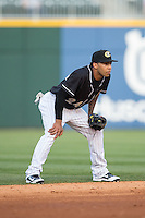 Charlotte Knights shortstop Leury Garcia (24) on defense against the Columbus Clippers at BB&T BallPark on May 27, 2015 in Charlotte, North Carolina.  The Clippers defeated the Knights 9-3.  (Brian Westerholt/Four Seam Images)