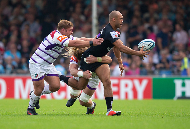 Exeter Chiefs' Olly Woodburn in action during todays match<br /> <br /> Photographer Bob Bradford/CameraSport<br /> <br /> Gallagher Premiership - Exeter Chiefs v Leicester Tigers - Saturday September 1st 2018 - Sandy Park - Exeter <br /> <br /> World Copyright © 2018 CameraSport. All rights reserved. 43 Linden Ave. Countesthorpe. Leicester. England. LE8 5PG - Tel: +44 (0) 116 277 4147 - admin@camerasport.com - www.camerasport.com