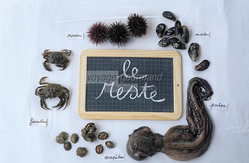 Europe/France/Provence-ALpes-Côte d'Azur/13/Bouches-du-Rhône/Marseille: Les éléments de la bouillabaisse de Gaby le pêcheur au bar des Goudes - Les poissons - Le reste