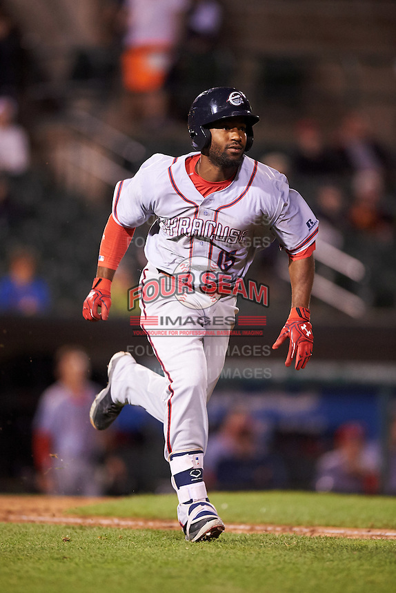 Syracuse Chiefs left fielder Brian Goodwin (15) runs to first during a game against the Rochester Red Wings on July 1, 2016 at Frontier Field in Rochester, New York.  Rochester defeated Syracuse 5-3.  (Mike Janes/Four Seam Images)
