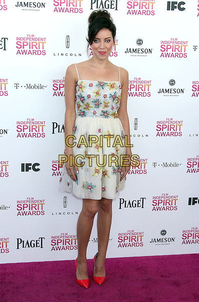 Aubrey Plaza.2013 Film Independent Spirit Awards - Arrivals held at Santa Monica Beach..Santa Monica, California, USA,.23rd February 2013..indy indie indies indys full length flowers dress red shoes white cream blue pink green .CAP/ADM/RE.©Russ Elliot/AdMedia/Capital Pictures