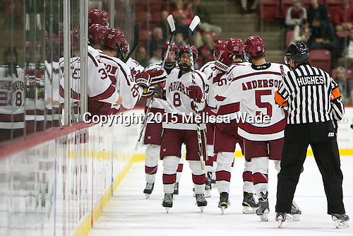 The Crimson celebrate Victor Newell's (Harvard - 8) goal. The Harvard University Crimson defeated the Dartmouth College Big Green 5-2 to sweep their weekend series on Sunday, November 1, 2015, at Bright-Landry Hockey Center in Boston, Massachusetts. -