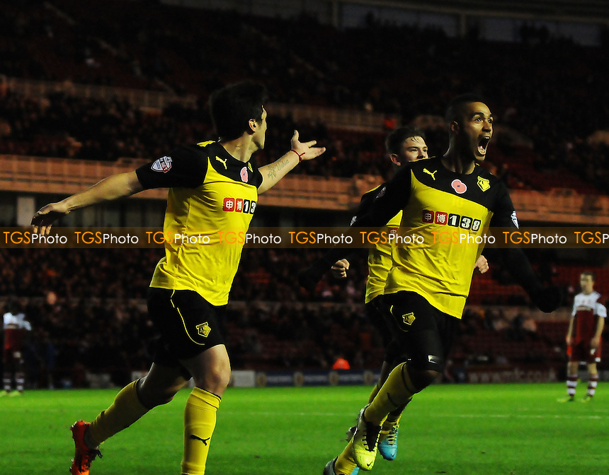 Fernando Forestieri of Watford celebrates scoring Watford's second goal - Middlesbrough vs Watford - Sky Bet Championship Football at the Riverside Stadium, Middlesbrough - 09/11/13 - MANDATORY CREDIT: Steven White/TGSPHOTO - Self billing applies where appropriate - 0845 094 6026 - contact@tgsphoto.co.uk - NO UNPAID USE