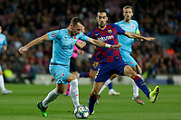 5th November 2019; Camp Nou, Barcelona, Catalonia, Spain; UEFA Champions League Football, Barcelona versus Slavia Prague;  Vladimir Coufal of Prague holds off Busquets of Barca - Editorial Use