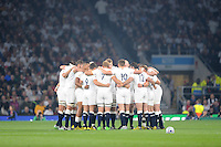 England huddle before the kick off of Match 26 of the Rugby World Cup 2015 between England and Australia - 03/10/2015 - Twickenham Stadium, London<br /> Mandatory Credit: Rob Munro/Stewart Communications