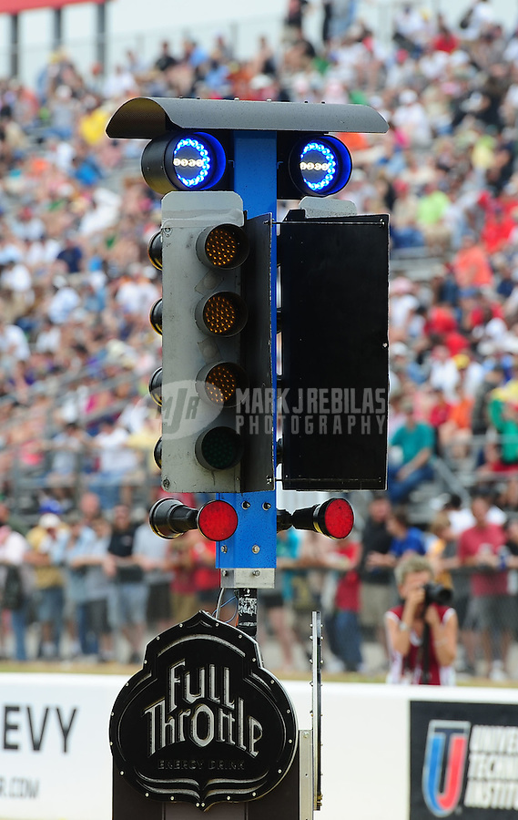 April 30, 2011; Baytown, TX, USA: NHRA new staging light system during the Spring Nationals at Royal Purple Raceway. Mandatory Credit: Mark J. Rebilas-