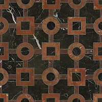 Marlene, a stone water jet mosaic, shown in Saint Laurent, Rojo Alicante, and Aegean Brown, is part of the Ann Sacks Beau Monde collection sold exclusively at www.annsacks.com