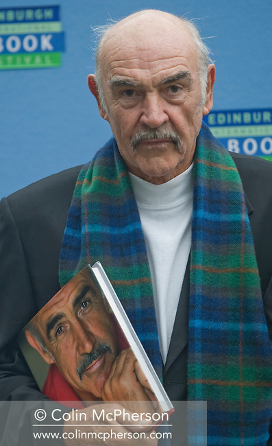 """Hollywood star Sir Sean Connery pictured on the occasion of his 78th birthday at the Edinburgh International Book Festival where the actor launched his new book entitled """"Being a Scot."""" The three-week event is the world's biggest literary festival and is held during the annual Edinburgh Festival. 2008 was the Book Festival's 25th anniversary and featured talks and presentations by more than 500 authors from around the world."""