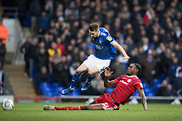 Jerome Opoku of Accrington Stanley gets a good tackle on Gwion Edwards of Ipswich Town during Ipswich Town vs Accrington Stanley, Sky Bet EFL League 1 Football at Portman Road on 11th January 2020