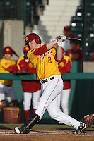 Adam Landecker #2 of the USC Trojans takes a throw during a game against the California Bears at Dedeaux Field on April 5, 2012 in Los Angeles,California. California defeated USC 5-4.(Larry Goren/Four Seam Images)