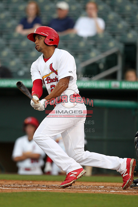 Palm Beach Cardinals outfielder Nick Longmire #25 during a game against the Fort Myers Miracle at Roger Dean Stadium on May 1, 2012 in Jupiter, Florida.  Palm Beach defeated Fort Myers 9-3.  (Mike Janes/Four Seam Images)