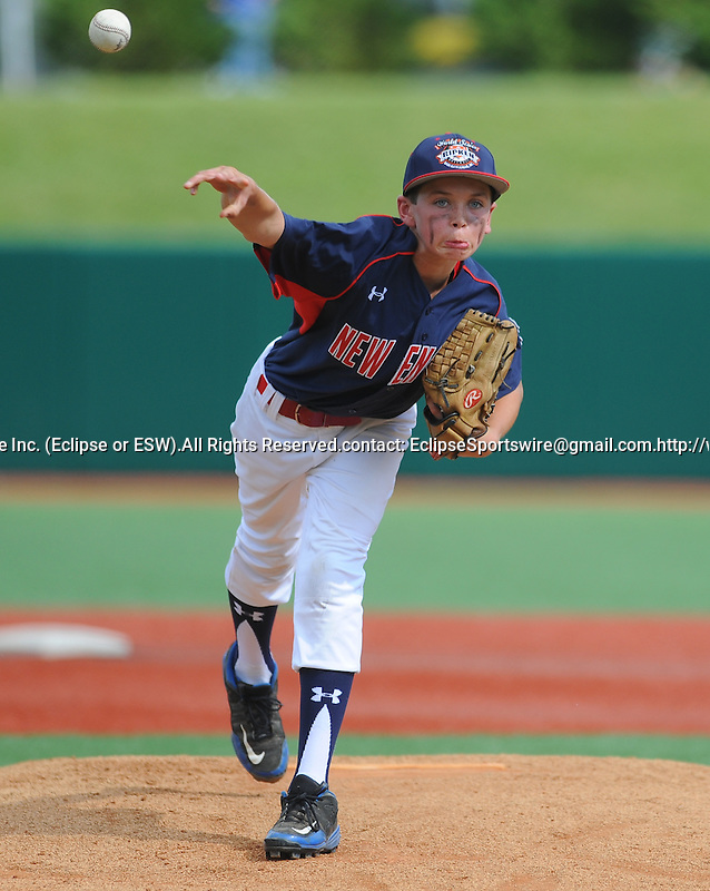 Newtown(CT)'s Adam Bergeron pitches during the Cal Ripken Babe Ruth World Series in Aberdeen, Maryland on August 12, 2012