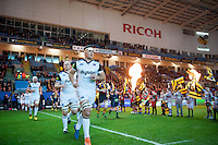 Francois Louw and the rest of the Bath Rugby team run out onto the field. European Rugby Champions Cup match, between Wasps and Bath Rugby on December 13, 2015 at the Ricoh Arena in Coventry, England. Photo by: Patrick Khachfe / Onside Images