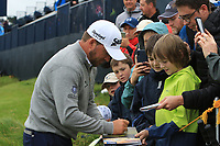 Graeme McDowell (NIR) signing autographs on the 9th during the preview of the the 148th Open Championship, Portrush golf club, Portrush, Antrim, Northern Ireland. 17/07/2019.<br /> Picture Thos Caffrey / Golffile.ie<br /> <br /> All photo usage must carry mandatory copyright credit (© Golffile | Thos Caffrey)
